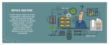 De illustratie van de voorraad Vlakke infographic Bureauroutine Stock Afbeeldingen