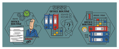 De illustratie van de voorraad Vlakke infographic Bureauroutine Royalty-vrije Stock Afbeeldingen