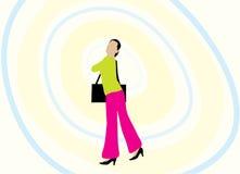 De illustratie van de vrouw en van de handtas Stock Foto