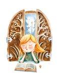 De illustratie van de waterverf De jongen die met boek over groot dromen Royalty-vrije Stock Afbeeldingen