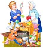 De illustratie van de waterverf Familie die in Keuken Maaltijd voorbereidt Royalty-vrije Stock Afbeelding