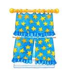 De illustratie van de waterverf Gordijn met gele sterren op het venster Stock Foto