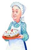 De illustratie van de waterverf Grootmoeder met cake Stock Foto