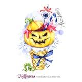 De illustratie van de waterverf Halloween-vakantiekaart Hand geschilderde wafelkegel, pompoen met bloed, oog Grappig roomijs royalty-vrije illustratie