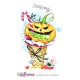 De illustratie van de waterverf Halloween-vakantiekaart Hand geschilderde wafelkegel, pompoen met het giftige vullen, oog grappig royalty-vrije illustratie