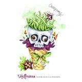 De illustratie van de waterverf Halloween-vakantiekaart Hand geschilderde wafelkegel, schedel met hersenen van wormen Grappig roo stock illustratie