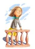 De illustratie van de waterverf Het meisje bevindt zich dichtbij de leuning Royalty-vrije Stock Afbeeldingen