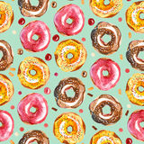 De illustratie van de waterverf Naadloos patroon van kleurrijke doughnut en Royalty-vrije Stock Foto's