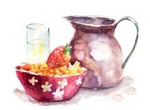 De illustratie van de waterverf van ontbijt Stock Foto