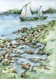 Varende boten op de illustratie van de rivierwaterverf vector illustratie