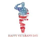 De illustratie van de waterverf Vegteransdag De vlag van Amerika, de V.S. Royalty-vrije Stock Fotografie