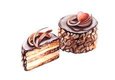 De illustratie van de whisroom van het chocoladedessert Royalty-vrije Stock Foto's