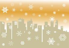 De winterillustratie met cityscape silhouet Stock Fotografie