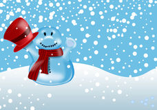 De illustratie van de winter met sneeuwman Royalty-vrije Stock Foto