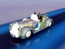 De illustratie van de zakenman in auto. stock illustratie