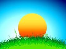 De illustratie van de zonsondergang of van de zonsopgang Stock Afbeeldingen
