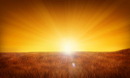 De illustratie van de zonsopgang of van de zonsondergang Royalty-vrije Stock Foto's