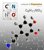 De illustratie van Dopamine Molecule isoleerde grijze achtergrond Royalty-vrije Stock Afbeelding