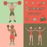 De illustratie van drie atleten nam in verschillende soorten sporten in dienst - bokser, weightlifter, het gesynchroniseerde zwem Royalty-vrije Stock Foto