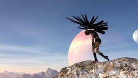 De illustratie van een vrouw die met uitgestrekte vleugels messen houden stortte over in wanhoop met een maan en een planeet op d vector illustratie