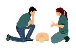 De illustratie van de eerste hulpdemonstratie De arts geeft raadsstagiair over reddingstechniek stock illustratie