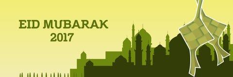 De illustratie van Eidmubarak met moskee en groen kleurenthema en ketupat stock illustratie