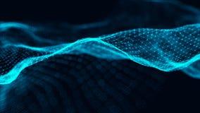 De illustratie van de gegevenstechnologie Golf met het verbinden van punten en lijnen op donkere achtergrond Golf van deeltjes he vector illustratie