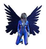 De illustratie van gevleugelde mens vormde buitenaards met uitgespreide vleugels wijd het knielen op een witte achtergrond vector illustratie