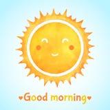 De illustratie van de goedemorgenwaterverf met het glimlachen van zon stock illustratie