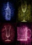 De illustratie van Grunge met fles en glazen Royalty-vrije Stock Fotografie
