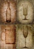 De illustratie van Grunge met fles en glazen Royalty-vrije Stock Foto