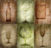 De illustratie van Grunge met fles en glazen royalty-vrije illustratie