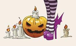 De illustratie van Halloween heks Stock Afbeelding