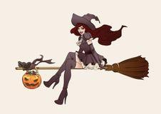 De illustratie van Halloween Heks op een bezemsteel Stock Afbeeldingen