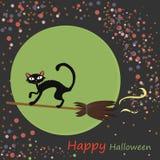 De illustratie van Halloween met zwarte kat Stock Afbeeldingen