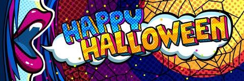 De illustratie van Halloween Open blauwe mond met hoektanden en Gelukkig Halloween-Bericht in pop-artstijl vector illustratie