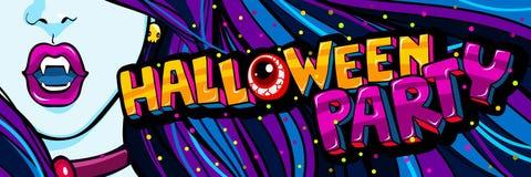 De illustratie van Halloween Open blauwe mond met hoektanden en Halloween-partijbericht in pop-artstijl stock illustratie