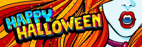 De illustratie van Halloween Open rode mond met hoektanden en Gelukkig Halloween-Bericht in pop-artstijl royalty-vrije illustratie