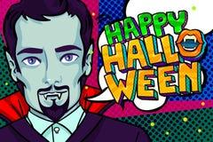 De illustratie van Halloween Vampier met hoektanden en Gelukkig Halloween-Bericht royalty-vrije illustratie