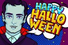 De illustratie van Halloween Vampier met hoektanden en Gelukkig Halloween-Bericht vector illustratie