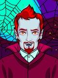De illustratie van Halloween Vampier met hoektanden en rode haar en baard royalty-vrije illustratie