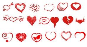 De illustratie van harten Stock Afbeeldingen
