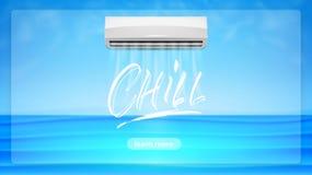 De illustratie van het airconditionerconcept Koel van letters voorziend tekst en realistick veredelingsmiddel met de wind van kou royalty-vrije illustratie