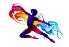De illustratie van het ballet dancer Ritmische Gymnastiek - gekleurd vectorial pictogram Stock Foto's