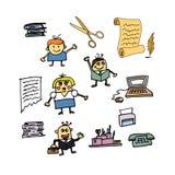 De illustratie van het beeldverhaal De karakters en de toebehoren van het Оfficebeeldverhaal Stock Afbeeldingen