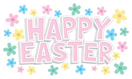 De gelukkige tekst van Pasen met bloemen Stock Foto