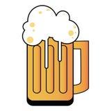 De illustratie van het beeldverhaal van een kroes met bier Stock Afbeelding