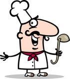 Kok of chef-kok met de illustratie van het gietlepelbeeldverhaal Royalty-vrije Stock Foto's