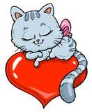 De Illustratie van het Beeldverhaal van het katje - de Versie van de Kleur Stock Foto