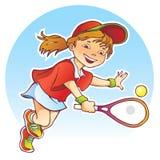 Sportief meisjes speeltennis Stock Foto's
